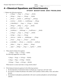 CP CHEMISTRY Name: Stoichiometry III WS ___ period Solve the