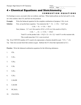 Stoichiometry Calculation Practice Worksheet