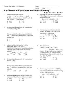 4 • Chemical Equations and Stoichiometry