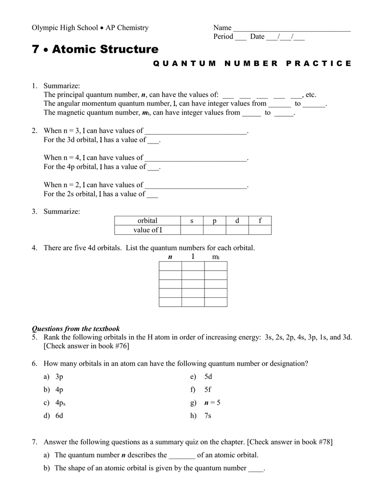 7 Atomic Structure – Quantum Numbers Worksheet