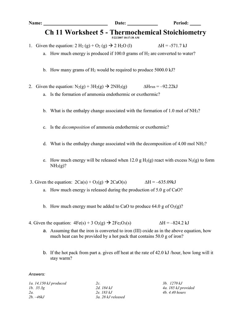Ch 11 Worksheet 5 - Thermochemical Stoichiometry