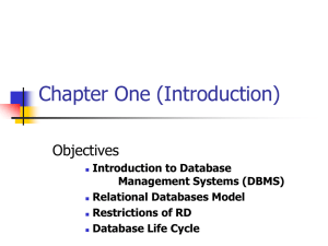 Chapter One (Introduction) Objectives