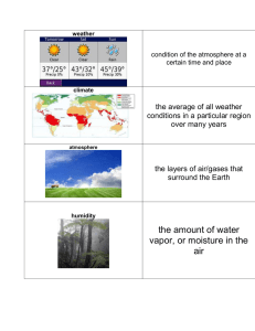 the average of all weather conditions in a particular region