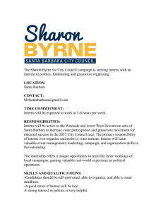 The Sharon Byrne for City Council campaign is seeking interns... interest in politics, fundraising and grassroots organizing.