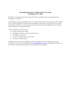 The Office of Congresswoman Lois Capps (CA-24) is accepting resumes... Washington, DC office. Internship Opportunity Available in Rep. Lois Capps'
