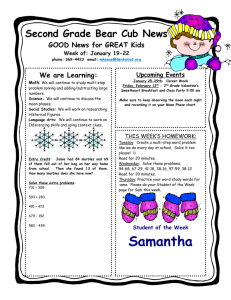 Second Grade Bear Cub News GOOD News for GREAT Kids Upcoming Events
