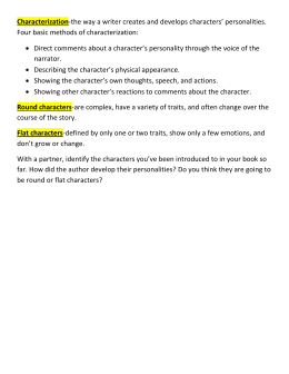 Characterization Four basic methods of characterization: