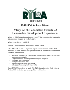 2015 RYLA Fact Sheet Rotary Youth Leadership Awards - A