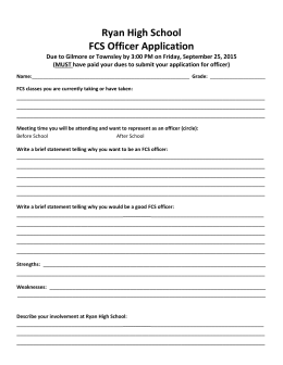 Ryan High School FCS Officer Application