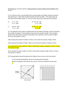 KEY Review Ch. -Solving Systems of Linear Equations Word Problems Test