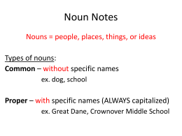 Noun Notes Nouns = people, places, things, or ideas without with