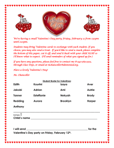 We're having a small Valentine's Day party Friday, February 12... until 2:20pm.