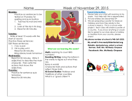 Name ____________ Week of November 29, 2015  Practice on sentences to be