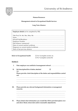 Human Resources Management referral to Occupational Health Services Long Term Absence