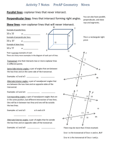 Activity 7 Notes     PreAP Geometry  ... Parallel lines Perpendicular lines Skew lines