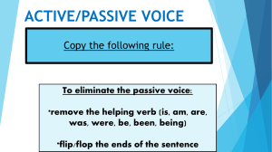 ACTIVE/PASSIVE VOICE Copy the following rule: