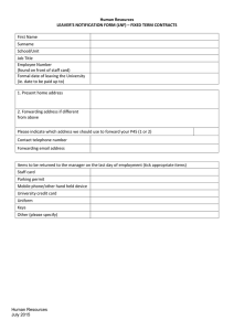 Human Resources LEAVER'S NOTIFICATION FORM (LNF) – FIXED TERM CONTRACTS  First Name
