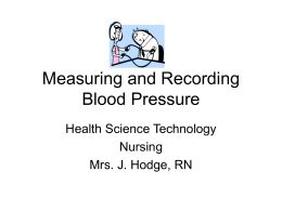Measuring and Recording Blood Pressure Health Science Technology Nursing