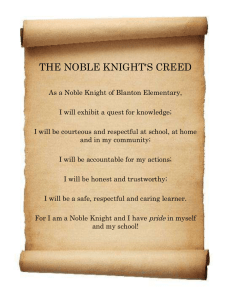 THE NOBLE KNIGHT'S CREED