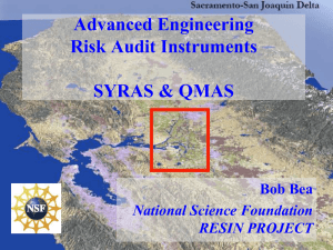 Advanced Engineering Risk Audit Instruments SYRAS & QMAS Bob Bea