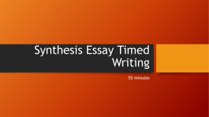 Synthesis Essay Timed Writing 55 minutes