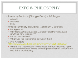 EXPO 8- PHILOSOPHY • Summary Topics – (Google Docs) – 1-2 Pages
