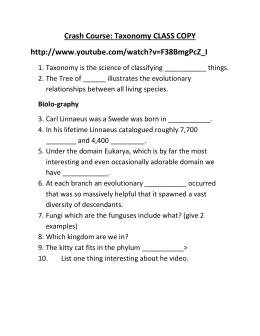 Taxonomy Video Worksheet
