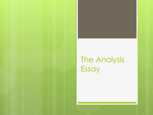 The Analysis Essay