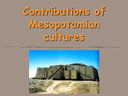 Contributions of Mesopotamian cultures