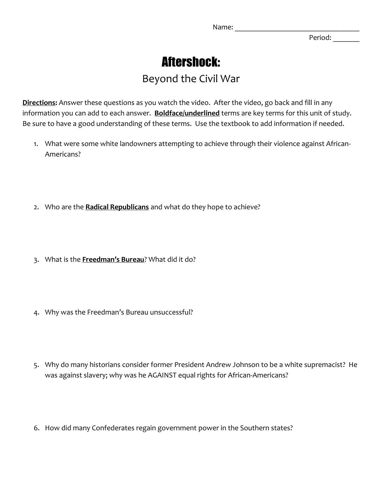 worksheet Civil War Worksheet aftershock beyond the civil war