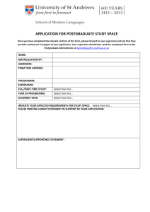 APPLICATION FOR POSTGRADUATE STUDY SPACE