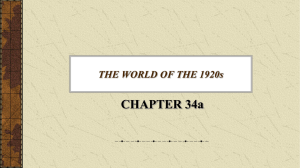 CHAPTER 34a THE WORLD OF THE 1920s