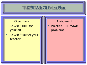 Objectives: Assignment: To win $1000 for Practice TRIG*STAR