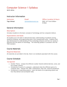 Computer Science 1 Syllabus Instructor Information General Information Instructor