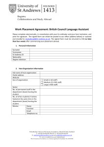 Work Placement Agreement: British Council Language Assistant  Registry Collaborations and Study Abroad