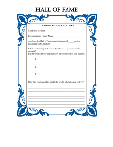 HALL OF FAME CANDIDATE APPLICATION