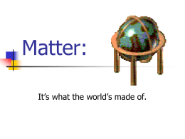 Matter: It's what the world's made of.