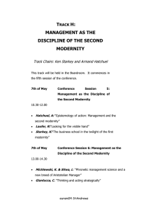 T H: MANAGEMENT AS THE DISCIPLINE OF THE SECOND