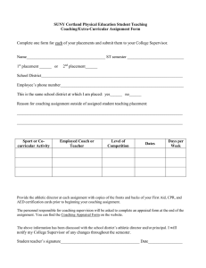 Complete one form for each of your placements and submit... Name_______________________________________ ST semester ____________________________ SUNY Cortland Physical Education Student Teaching