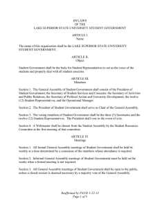 BYLAWS OF THE LAKE SUPERIOR STATE UNIVERSITY STUDENT GOVERNMENT
