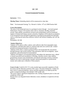 GE  315  Geoenvironmental Systems.