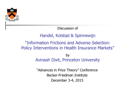 "Handel, Kolstad & Spinnewijn ""Information Frictions and Adverse Selection:"