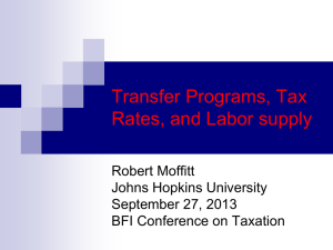Transfer Programs, Tax Rates, and Labor supply Robert Moffitt Johns Hopkins University