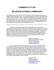 COMMENTS TO THE  MILLENIUM HOUSING COMMISSION