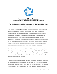 Comments of Mary Rouvelas Vice President, Alliance of Nonprofit Mailers