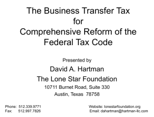 The Business Transfer Tax for Comprehensive Reform of the Federal Tax Code