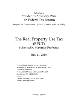 The Real Property Use Tax (RPUT) President's Advisory Panel on Federal Tax Reform