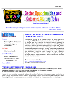 "VERMONT PROMOTES YOUTH DEVELOPMENT WITH ""WHAT WORKS"" SERIES"