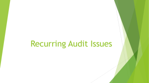 Recurring Audit Issues