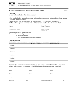 Student Associations | Charter Registration Form